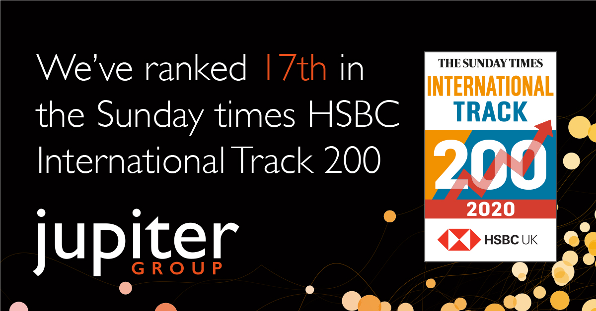 Jupiter ranked 17th in the Sunday Times HSBC International Track 200
