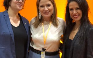 Jupiter Group's Yvonne Tweddle pictured with Global Women Fresh's Monica Bratuti and Viviane Schappo