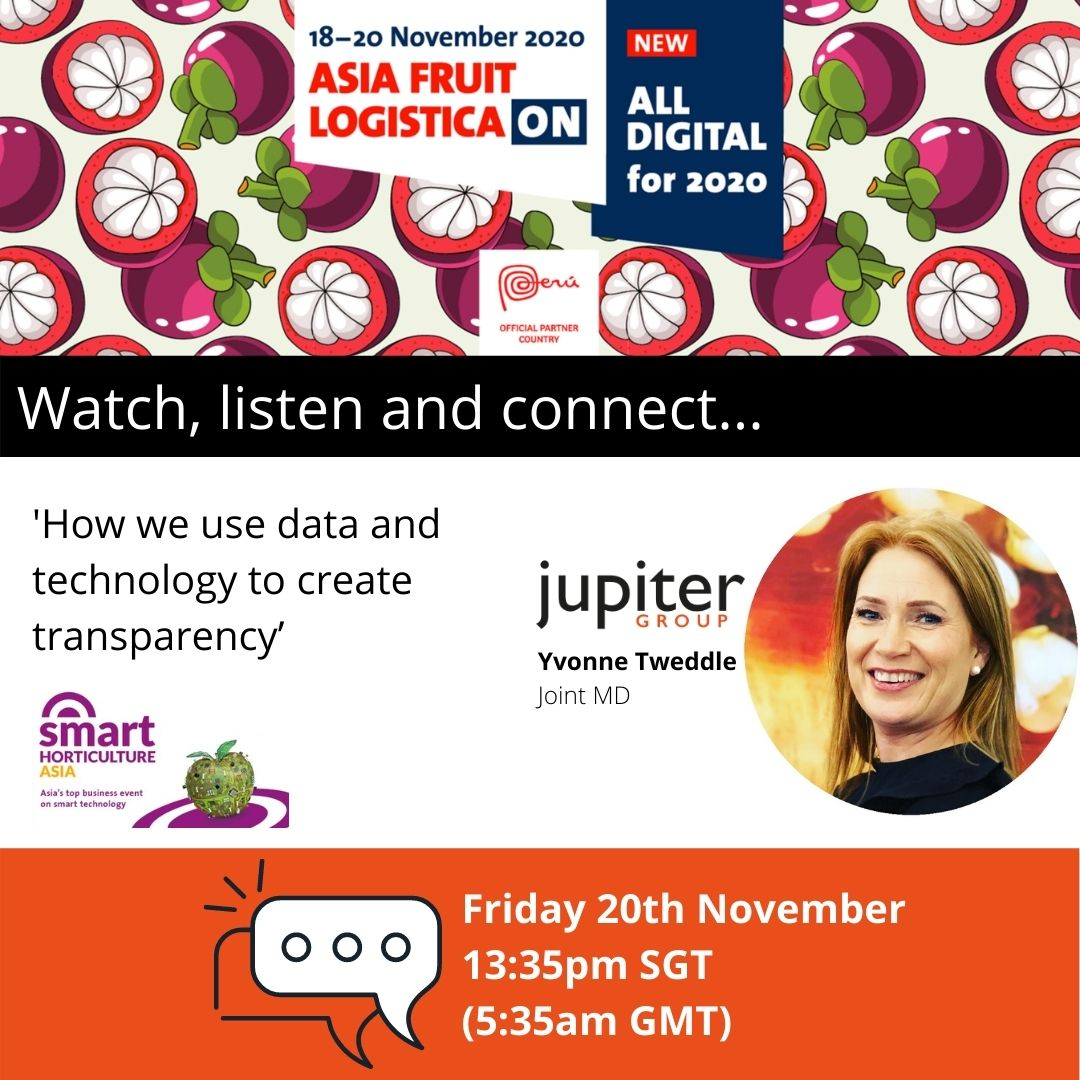 Fresh produce grower Jupiter Group's Joint MD Yvonne Tweddle speaking at Asia Fruit Logistica ON